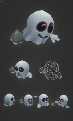 Micro Ghost Hubert This is low poly micro ghost Hubert! He is fully rigged and comes with an idle animation (frame 01-60). Hubert absolutely loves bowling. He has managed to take the game one step further with his custom made spiked metal ball.