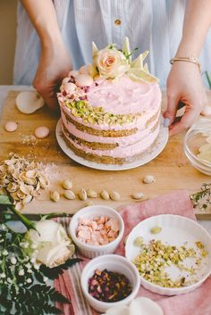 White Chocolate Spiced Cake with Rosewater Cream Cheese and Pistachios meringue pebbles, pistachio, white chocolate green swirl, rose petals