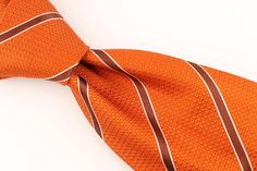 Daniel Cremieux Signature Collection 7 FOLD Orange Striped mens Silk Tie #DanielCremieux #NeckTie