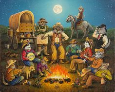 """Kool-Kat Kowboys"" painted by Don Roth. Prints available on web site."