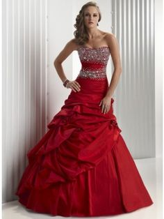 Strapless Corset Red Prom Dress Beaded Ballgown Silhouette