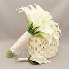 Sencillas y elegantes Redondo PE/Encaje Conjuntos de flores (123069405)