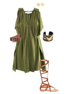 Khaki dress Roman outfit
