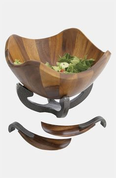 Nambé 'Anvil' Scroll Wood Salad Bowl & Servers available at #Nordstrom