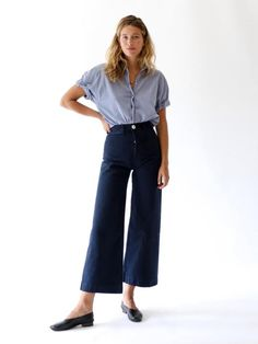 Shop Mille - Sailor Pants in Midnight Jesse Kamm Sailor Pant, Modest Fashion, Fashion Outfits, Queer Fashion, Fashion Trends, Printemps Street Style, Trendy Outfits, Cute Outfits, Sailor Pants