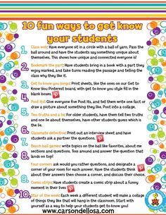Brainstorming ice breakers or first day activities for Back-to-School? Maybe this list of ways to get to know your students can help! Also see them brought to life here on our Pinterest page.: