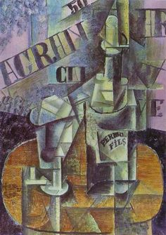 Pablo Picasso. Bottle of Pernod (Table in a Cafe), 1912 Oil on canvas  St.Petersburg. The State Hermitage Museum