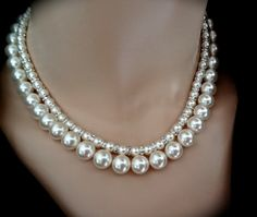 Chunky Pearl necklace // Swarovski // Crystal by QueenMeJewelryLLC