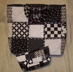 Black & White  Quilted Tote  with Black and by MadewithLovebyDeena, $40.00