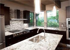 espresso cabinet white countertop gray backsplash tile