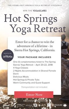 Win a hot springs yoga retreat Health And Wellness, Health Fitness, Me Time, Yoga Teacher Training, My Yoga, Yoga Retreat, Yoga Meditation, Namaste, Yoga Poses