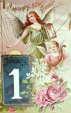 Happy New ~ Vintage Greeting Postcard