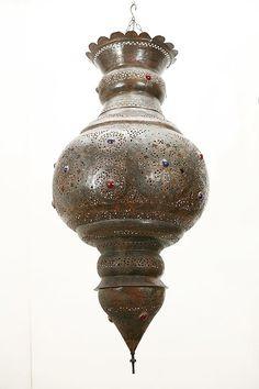Vintage Moroccan bronze pendant chandelier. [$4,960.00]