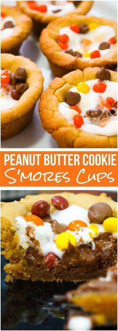 Peanut Butter Cookie S'mores Cups: Peanut butter cookie cups filled marshmallows, chocolate chips and mini Reese's pieces. These easy s'mores desserts are made in muffin tins. Oreo Dessert, Bon Dessert, Dessert Aux Fruits, Dessert Bars, Mini Desserts, Easy Desserts, Delicious Desserts, Desserts Menu, Baking Desserts