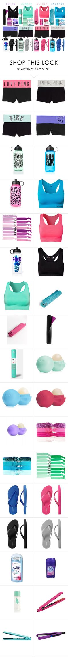 """""""The Clique- Yoga"""" by daniellenicole ❤ liked on Polyvore featuring Victoria's Secret PINK, Stay In Place, Sephora Collection, Pure Lime, prAna, Alo, Under Armour, Manduka, Eos and Charlotte Russe"""