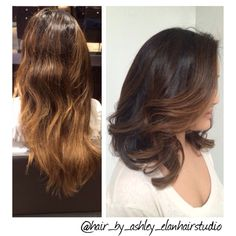 From long locks with golden balayage to a fresh new lob with a chocolate base me toffee balyage highlights