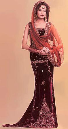 BW7626 Zinnia velvet Orange Lehenga A Perfect Velvet Wedding Dress For Brides Bridal Wear