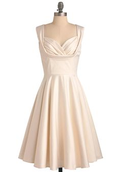 Dress? Aisle Be There Dress - Formal, Wedding, Pinup, Vintage Inspired, 40s, 50s, Cream, Solid, Pockets, A-line, Tank top (2 thick straps), White, Long