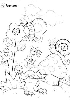 spring drawings for coloring – Eduarda Sousa – Join in the world of pin Spring Coloring Pages, Coloring Book Pages, Coloring Sheets, Felt Patterns, Embroidery Patterns, Hand Embroidery, Colouring Pics, Coloring Pages For Kids, Penny Rugs