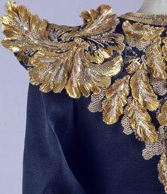 Yves Saint Laurent S/S 1980 Couture silk gazar evening ensemble with metallic thread, bead and sequin trim. François Lesage Broderies.