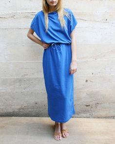 943464155f42 Black Crane long cotton dress with adjustable cord waist