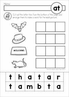 FREE Word Families Worksheet BUNDLE SAMPLER. Cut and paste the words ...