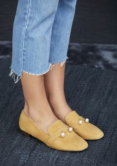 Mustard suede loafer with pearl embellishments | Sole Society Caspar