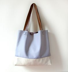 L E A T H E R Tote. Lavender and Pearl Leather Shoulder Tote Bag. Leather Beach Tote.. $188.00, via Etsy.
