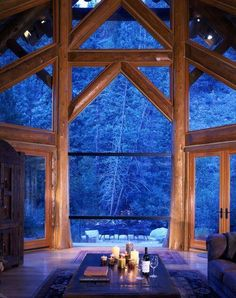 Log cabin life in the winter. Windows are perfect for great winter views at Put-in-Bay, Ohio. Style At Home, Cabana, Architecture Résidentielle, Log Cabin Homes, Log Cabins, Forest House, Forest Cabin, Forest View, Lake Forest