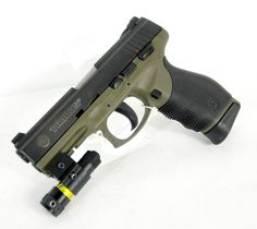 "Taurus PT 24/7 Pro DS w/ Laser .40 S 3"". This Taurus 24/7 Pro DS features a OD Military Green frame and black slide, rubber wraparound grip, Heinie ""Straight Eight"" sights, loaded chamber indicator, & accessory rail. A laser sight has been added to the rail. 15+1 capacity of .40 S 3"" barrel. $375.00"