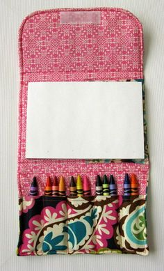 Of paper and crayons on the go pack diy for kids, crafts for kids, sewing f Fabric Crafts, Sewing Crafts, Sewing Projects, Craft Projects, Sewing For Kids, Diy For Kids, Crafts For Kids, Baby Sewing, Ideias Diy