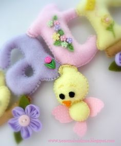 FELT LETTERS ... NAME OF BABY ... A little bird included by No mundo da Luma, via Flickr