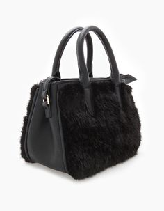 3d9f232508b5 Micro bowling bag with faux fur - Bags