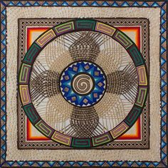 Multi Color Amate Paper Wall Art Signed Painting - Star of Life Mandala | NOVICA