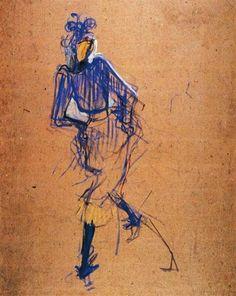 Jane Avril Dancing, 1892 by Henri de Toulouse-Lautrec. Art Nouveau (Modern). sketch and study. Musee Toulouse Lautrec