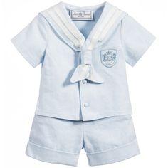 Little Darlings - Boys Blue Sailor Top & Shorts 2 Piece Set | Childrensalon