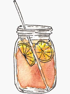 """Mason Jar Summer Sun Ice Tea in Watercolor"" Stickers by Blkstrawberry Art Drawings Sketches, Cute Drawings, Watercolor Illustration, Watercolor Paintings, Watercolor Ideas, Watercolors, Simple Watercolor, Watercolor Flowers, Summer Drawings"