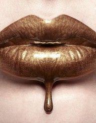 Liquid Gold Lips by Digirrl Love Lips, Lipstick Art, Gold Lipstick, Lipsticks, Kissable Lips, Glamour, Liquid Gold, Liquid Metal, Beautiful Lips
