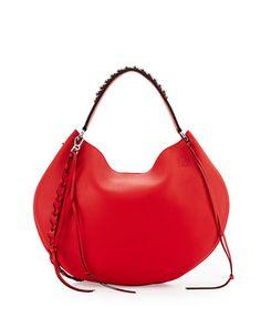 LOEWE Fortune Leather Hobo Bag, Red. #loewe #bags #shoulder bags #hand bags #leather #hobo #