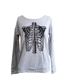This highly detailed rendering of a skeleton ribcage is printed in black ink onto a heather grey ladies crewneck sweater. Available is in sizes S-XL, please specify your size with your order. Please read the measurements below for your perfect fit!  SIZING:  Chest  S - 37 M - 39 L - 41 XL - 44  Length (shoulder to hem)  S - 23 M - 23.5 L - 24 XL - 24.5  All our apparel is hand printed by us using only the highest quality equipment and eco-friendly soy based screen printing products…
