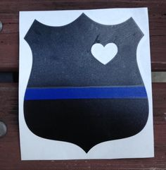 Thin Blue Line Police Wife / Girlfriend Officer Decal With Cut Out Heart by BOWSandBADGES on Etsy