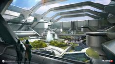 De magnifiques concept art pour Mass Effect : Gamekyo is a social video game magazine for the Wii, Nintendo DS, PlayStation PlayStation PSP, Xbox 360 and PC. De magnifiques concept art pour Mass Effect Futuristic City, Futuristic Architecture, Architecture Design, Sci Fi Environment, Environment Design, Cyberpunk, Sci Fi Stadt, Games Design, Art Et Design