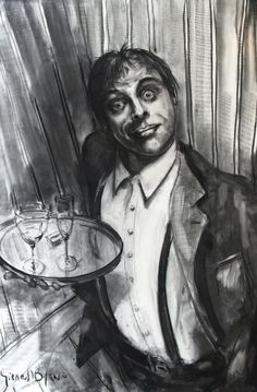 Drink?, Figurative, charcoal on canvas, Gerard Byrne, www.gerardbyrneartist.com SOLD