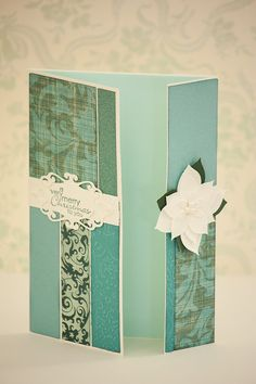 Christmas Green Mint Turquoise Handmade Greeting Card with Christmas Wish Stamp on Elegant Frame and Sparkling Paper Flower