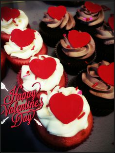Valentine's Day cupcakes with Nutella and cream cheese frosting, and a fondant heart topper. Valentine's Day 2016