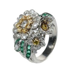 Shreve & Co. Fancy Yellow and White Diamond Flower Cluster Ring | From a unique collection of vintage cocktail rings at https://www.1stdibs.com/jewelry/rings/cocktail-rings/