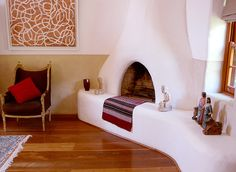 fireplace in the master bedroom Adobe Fireplace, Fireplace Design, Wattle And Daub, New Mexico Homes, Interior Architecture, Interior Design, Adobe House, Hacienda Style, Southwest Decor