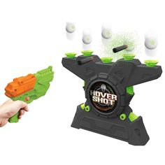 Glow-in-the-Dark Hover Shot 2.0 and thousands more of the very best toys at Fat Brain Toys. Switch on the fan and place a foam ball over each of the vortexes. As if by magic, they actually hover in mid-air! Do you have the skills to knock them out of the sky with the shooter? How about at night when all you can see are the glow-in-the-dark dots?