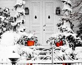 White Red Colonial Christmas Holidays Rustic New England