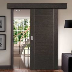 Thruslide Surface Palermo Dark Grey Flush - Sliding Door and Track Kit - Prefinished - Lifestyle Image Contemporary Doors, Modern Door, Privacy Walls, Main Door, Palermo, Sliding Doors, Dark Grey, Surface, Track